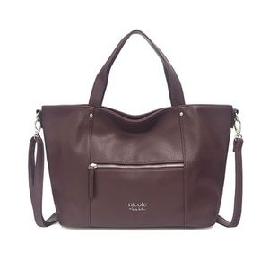 Nicole Miller Purple Faux Leather Satchel Purse